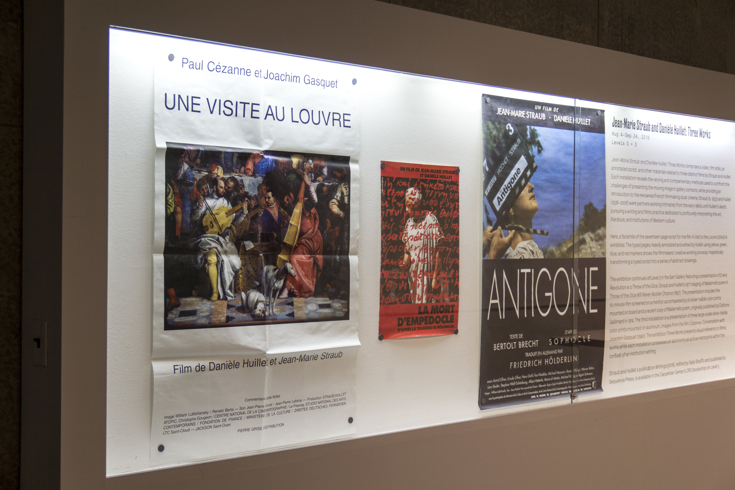 Installation view, Jean-Marie Straub and Danièle Huillet: Three Works (Display Case)