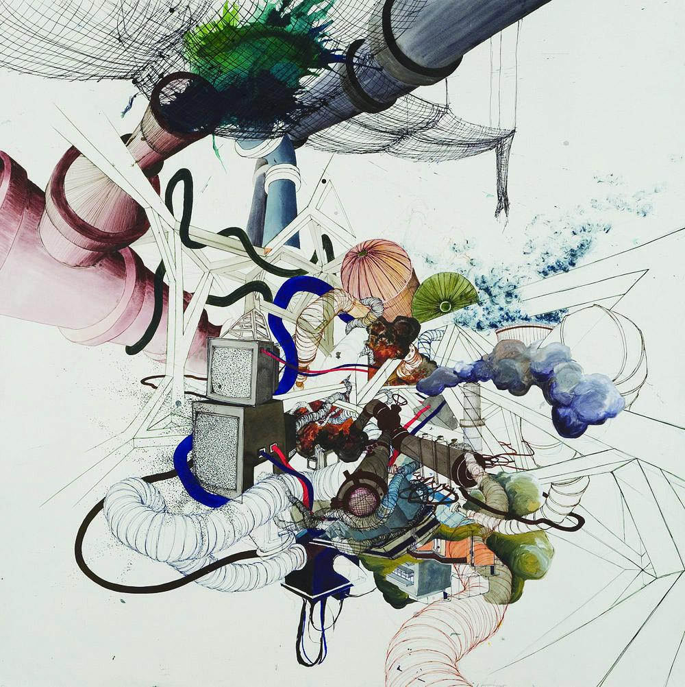 Nicola Lopez,  White Noise , 2006;ink, graphite on paper, 44.5 x 44.5 inches;courtesy of Caren Golden Fine Art, New York