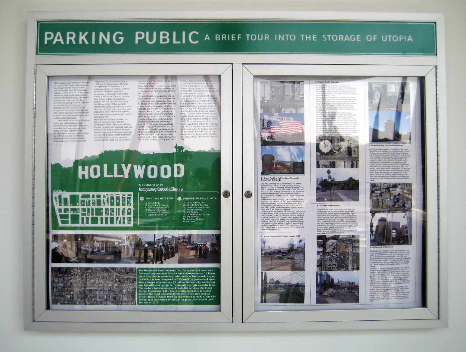 Temporary Travel Office,  Parking Public, A Brief Tour into the Storage of Utopia , 2005-ongoing; a research initiative that documents histories of public parking development as they relates to ideologies of utopian capitalism