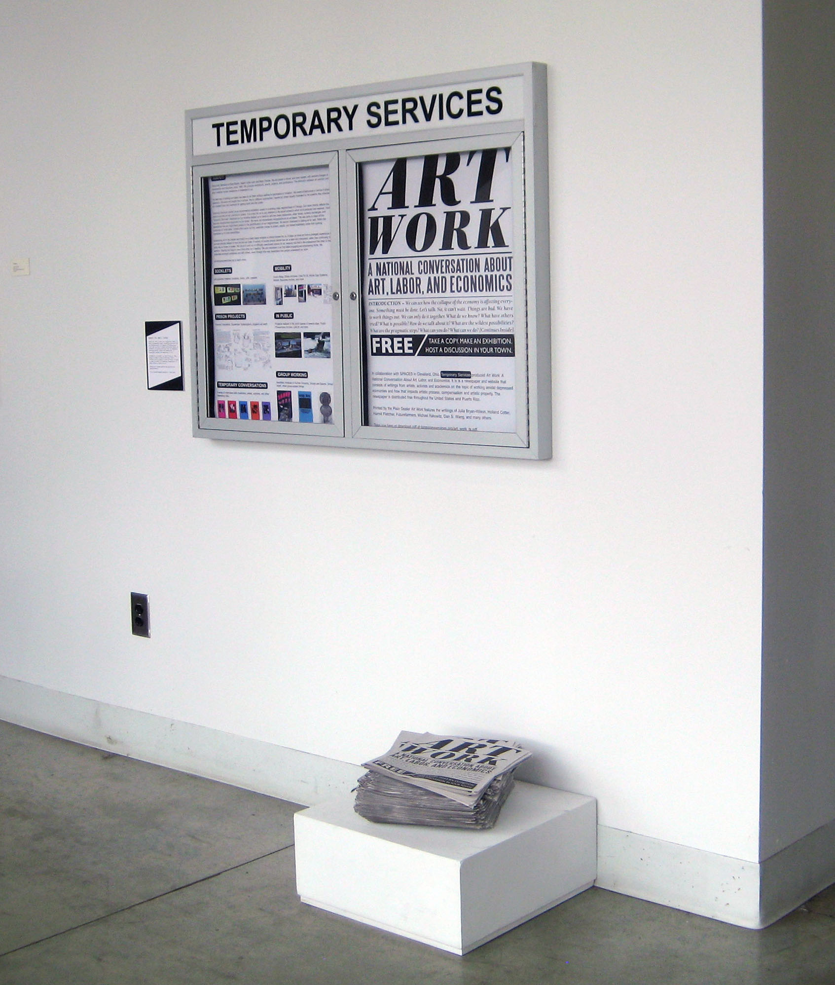 Temporary Services,  Art Work: A National Conversation About Art , Labor, and Economics; 32-page newspaper and conversation series