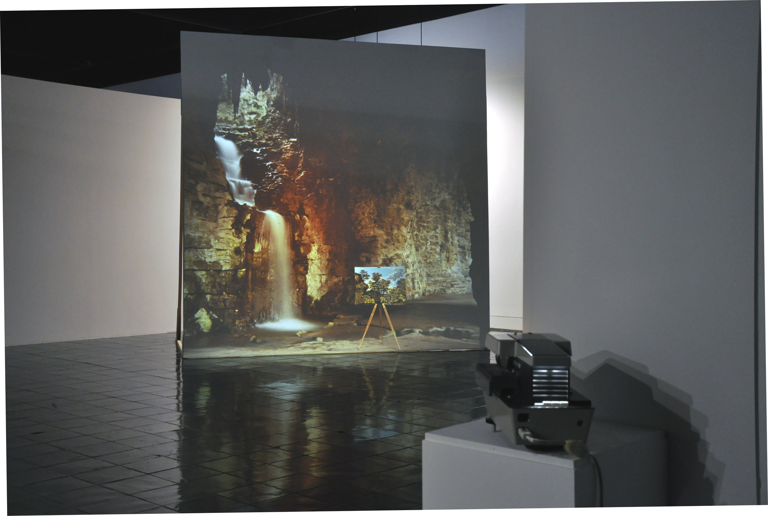 Matts Leiderstam, Paris 1999-03-15, Returned, Parc des Buttes-Chaumont made after Nicolas Poussin's Spring or The Earthly Paradise, 1660-64, Rome , 2000-01.Installation with slide projection and wooden bench.