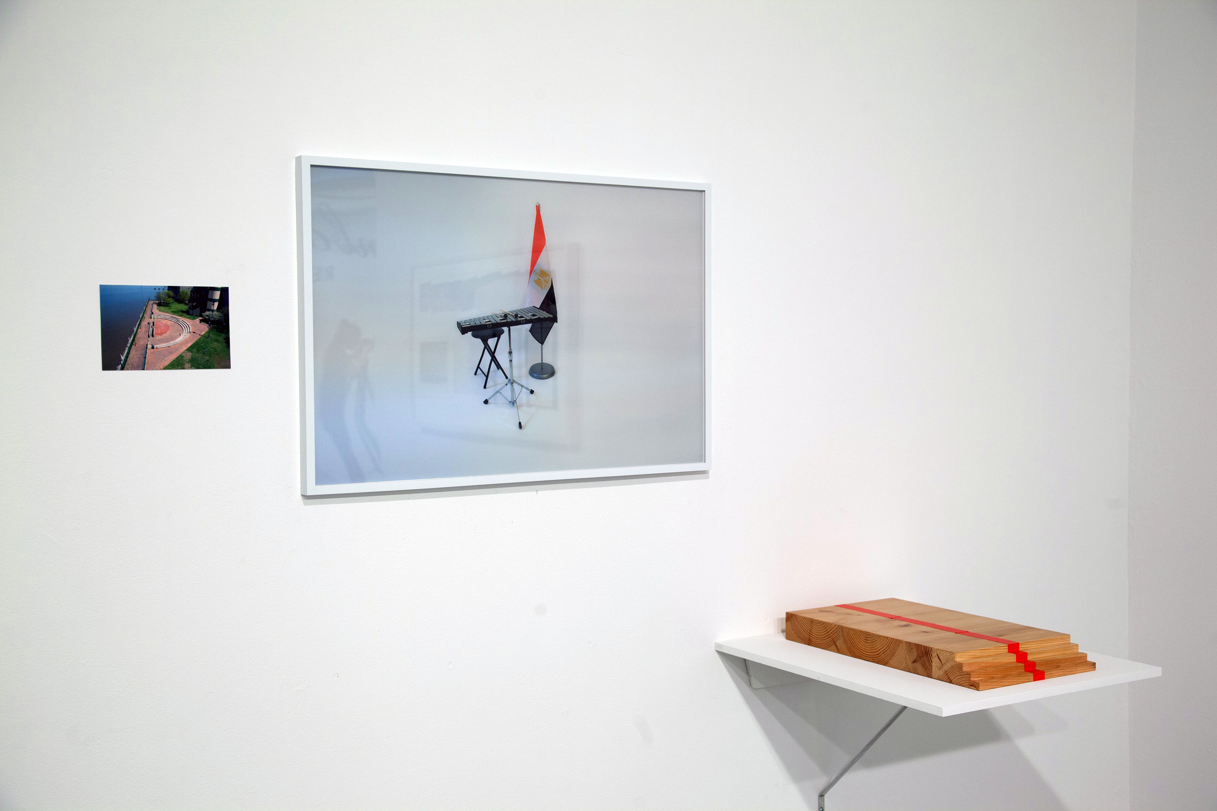 Iman Issa,  Triptych #4 , 2009, photographs, text, notebooks; dimensions variable; installation view; courtesy of the artist