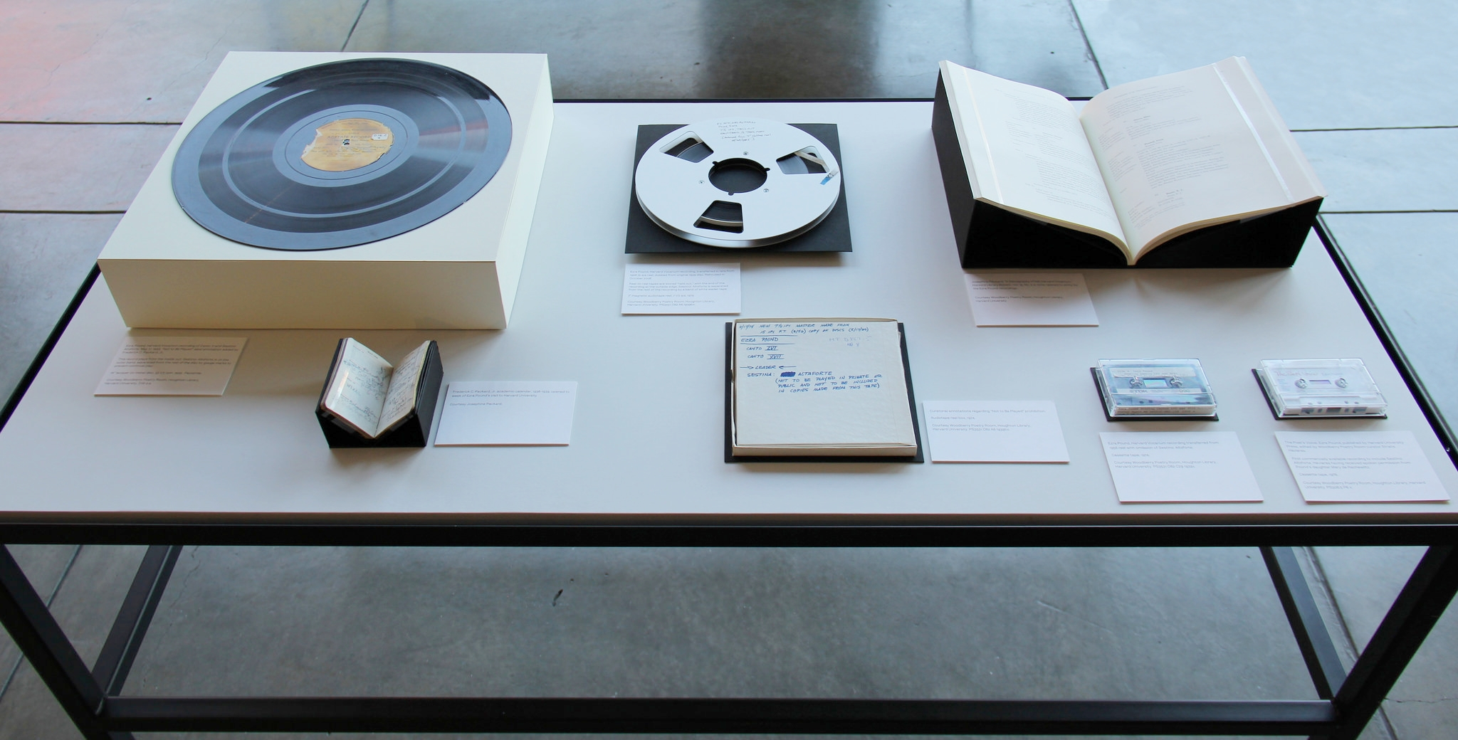 Damon Krukowski:NOT TO BE PLAYED  is a multifaceted exhibition featuring archival materials, performance, and a publication that together revive an obscure audio recording made by Ezra Pound at Harvard University in 1939. October 8–23, 2015.
