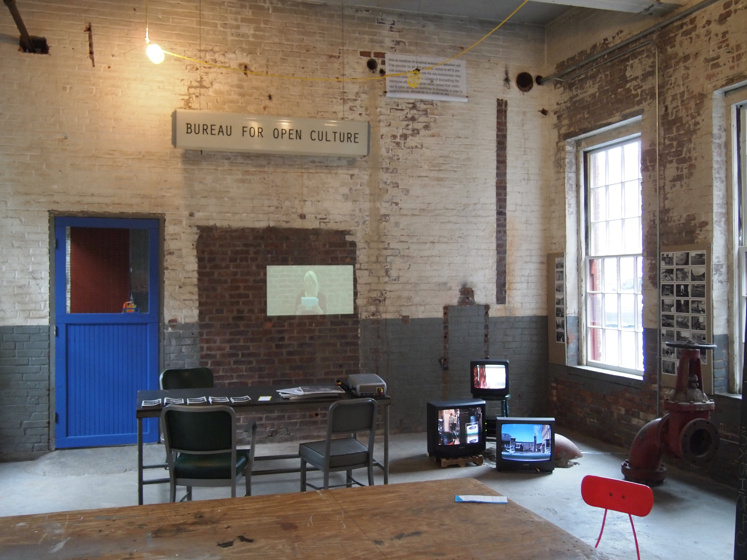 Installation view of  On Symptoms of Cultural Industry , MASS MoCA, North Adams, Massachusetts.