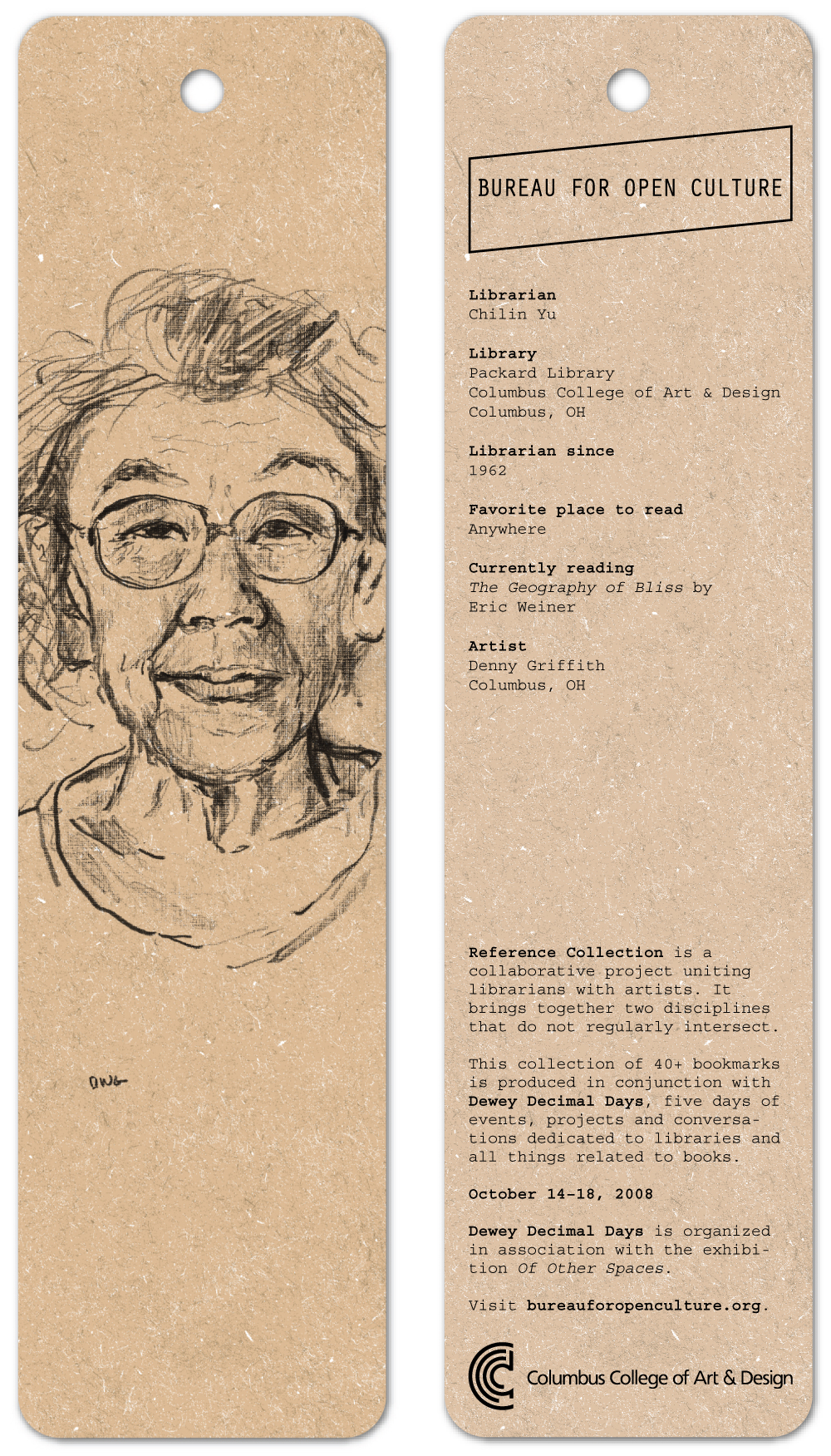 Reference Collection, a series of 42 portraits of librarians and library staff by 42 artists. Produced on bookmarks, 20,000 distributed freely.