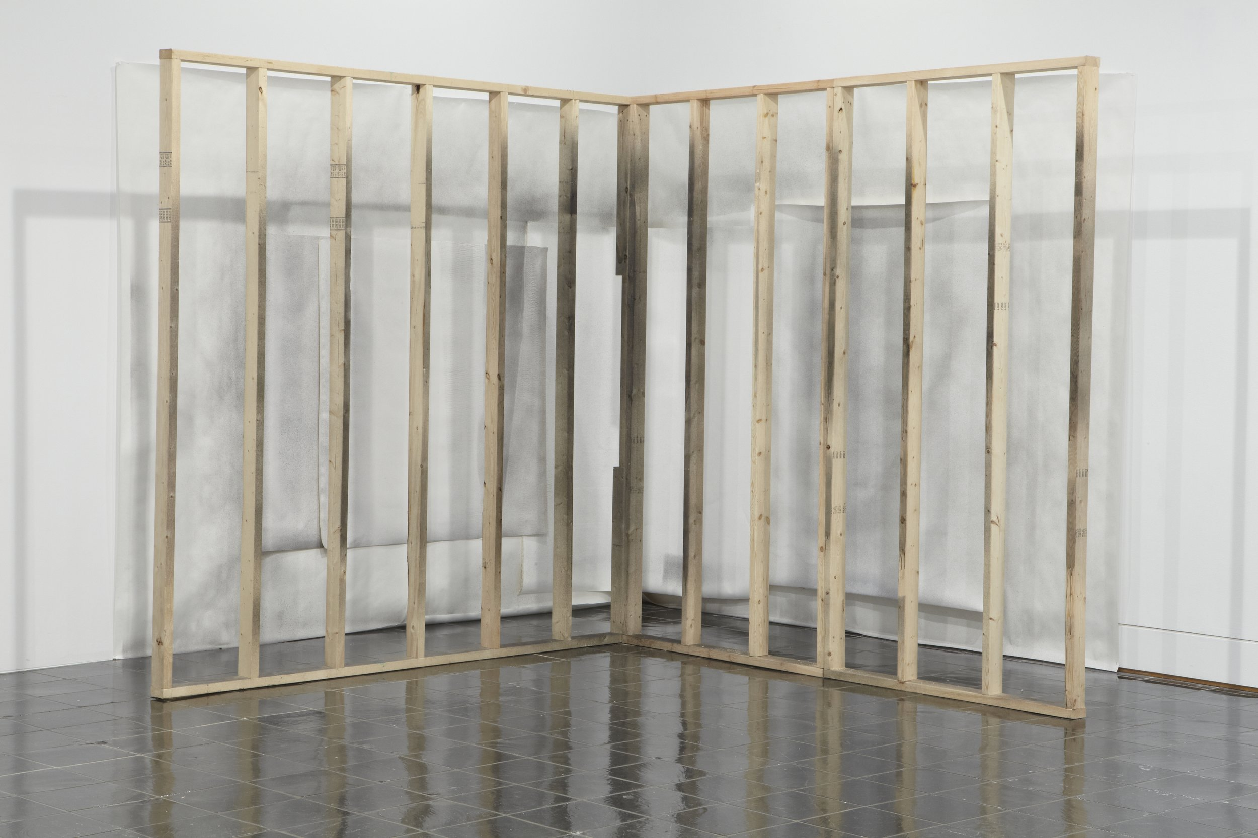Laura Lisbon,  Corner Set-up (Wall Displacement) , 2009. Wood, paper, canvas, acrylic paint dimensions variable. Courtesy of the artist