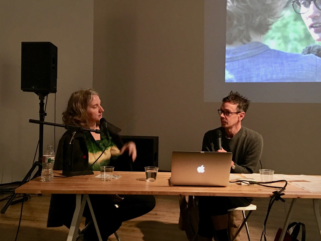 Sharon Hayes in conversation with James Voorhies, March 5, 2018. The Lab, San Francisco.