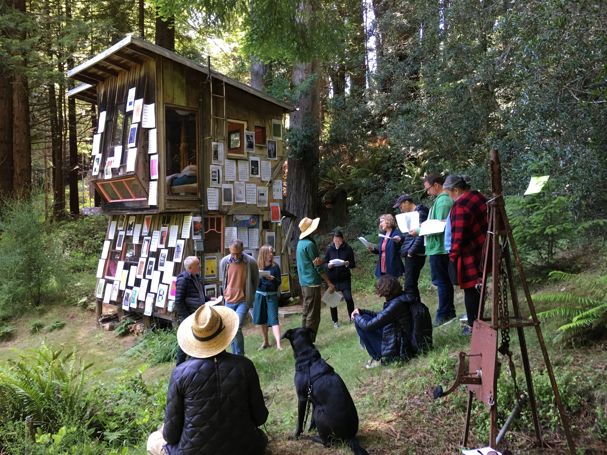 Companion Planting . Module: Institutions, led by Nate Padavick, Calvin, Rocchio, and James Voorhies. Audition-reading by group of script made with quotes pulled from pictured publications. Posters of photographs of books and the quotes reflect modes of visionary challenges to institution practice. River Cabin, Salmon Creek Farm, June 9, 2018.