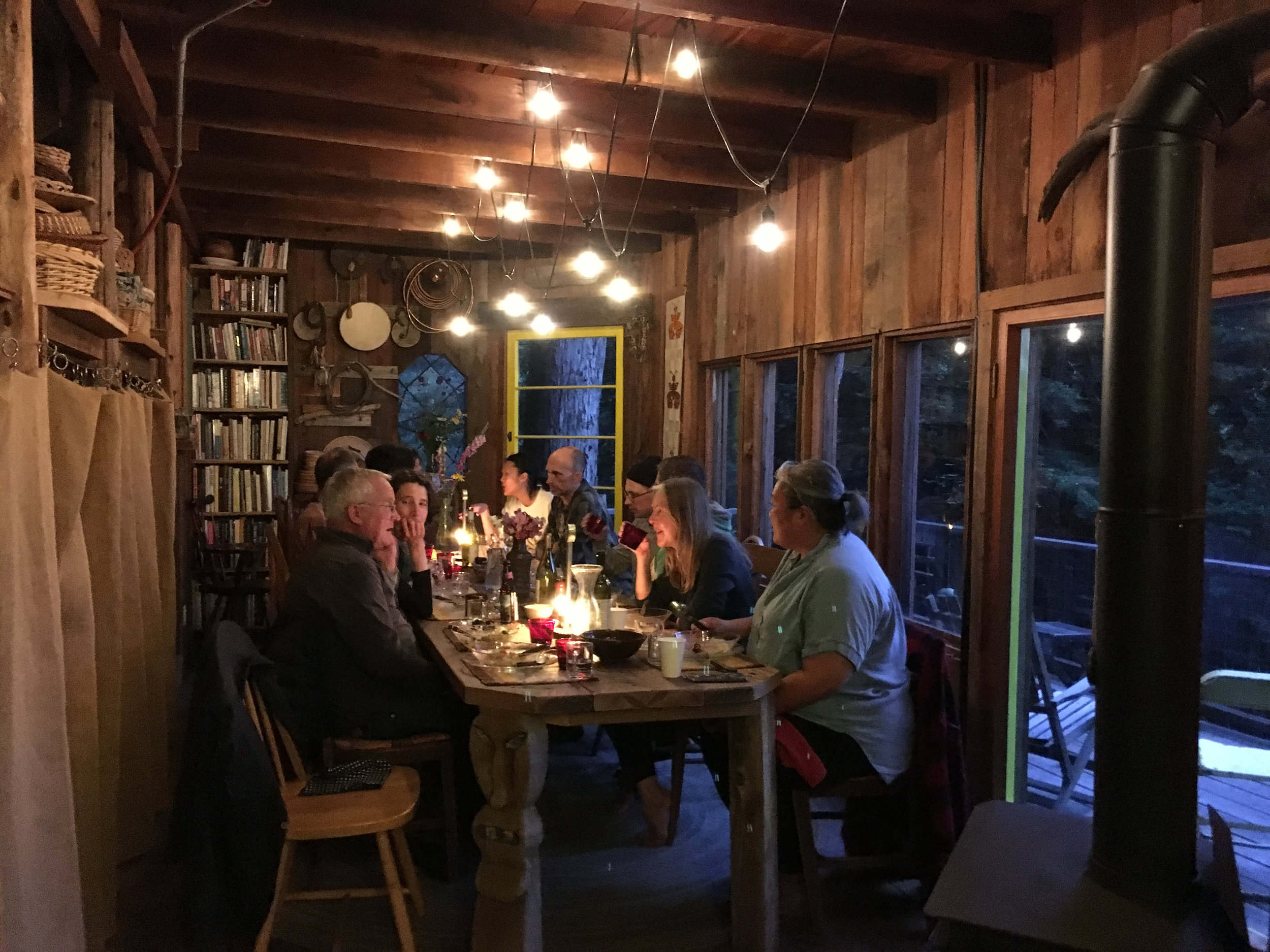 Concluding dinner,  Companion Planting , Dawn Cabin, Salmon Creek Farm, June 9, 2018.