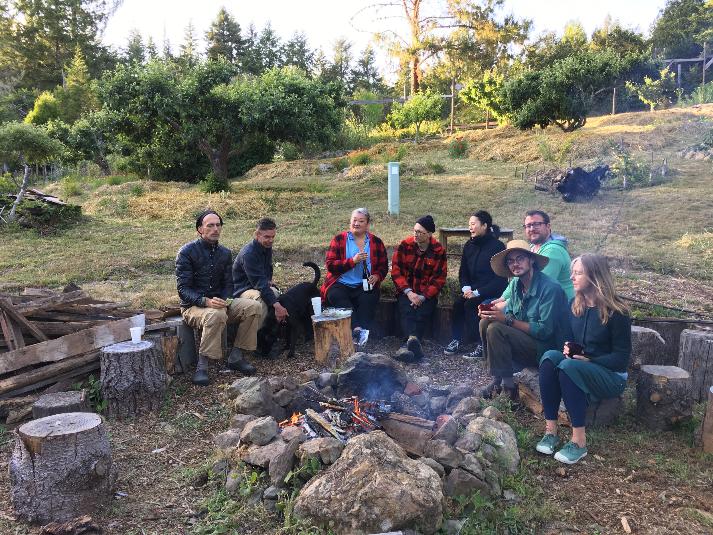 Pre-dinner drinks at Fire Ring, the Orchard, Salmon Creek Farm, June 9, 2018.