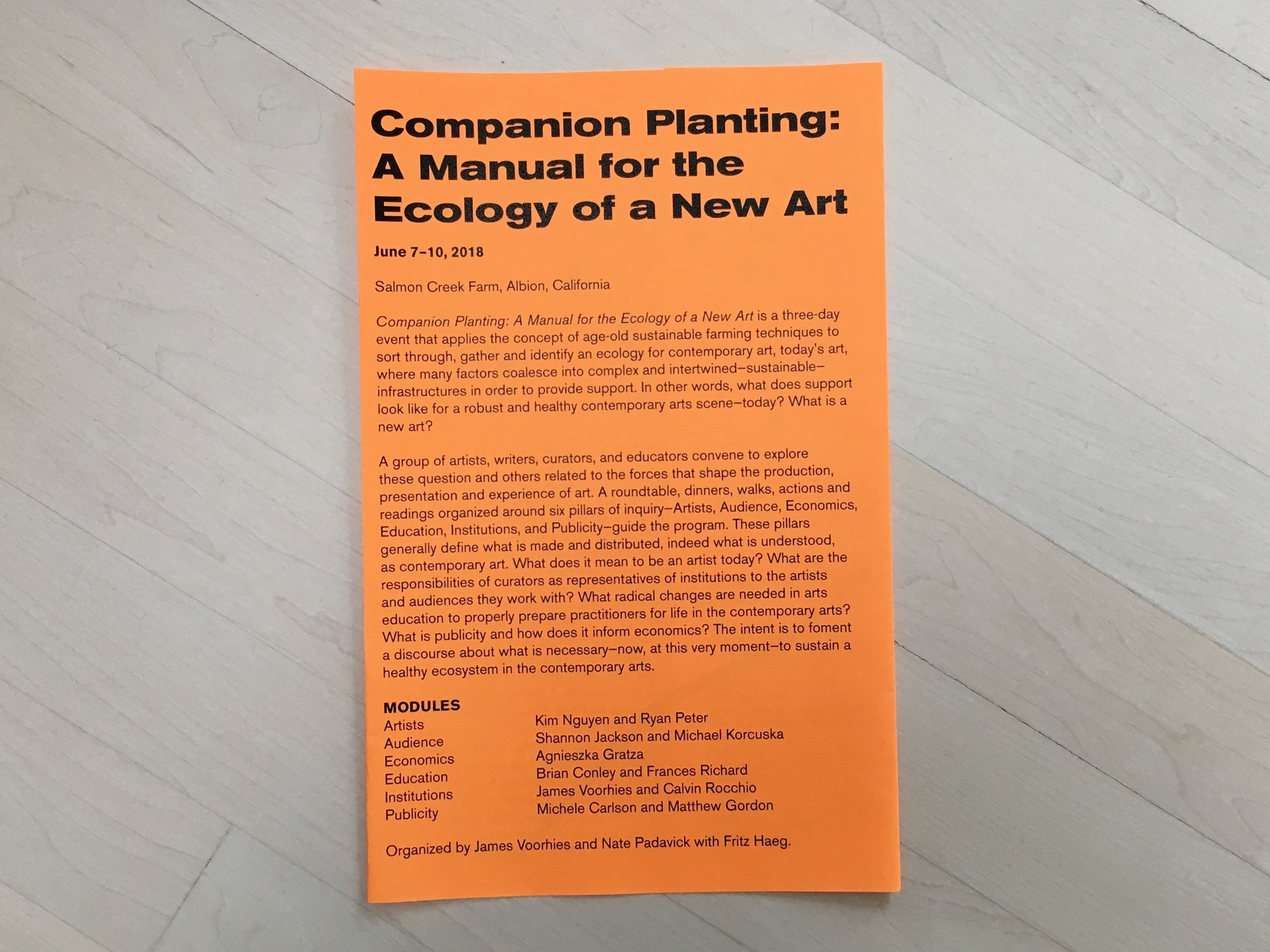 Companion Planting: A Manual for the Ecology of a New Art . Program Agenda. Salmon Creek Farm, June 7–10, 2018.