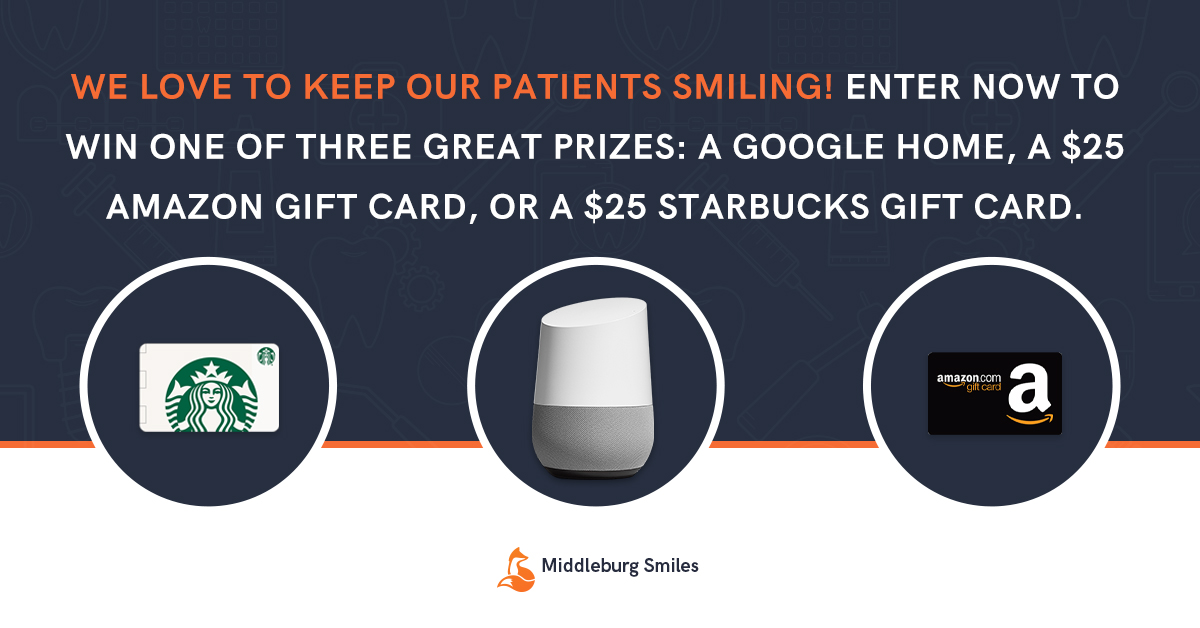 Enter now to win one of three great prizes: A Google Home, A $25 Amazon Gift Card, or a $25 Starbucks Gift Card