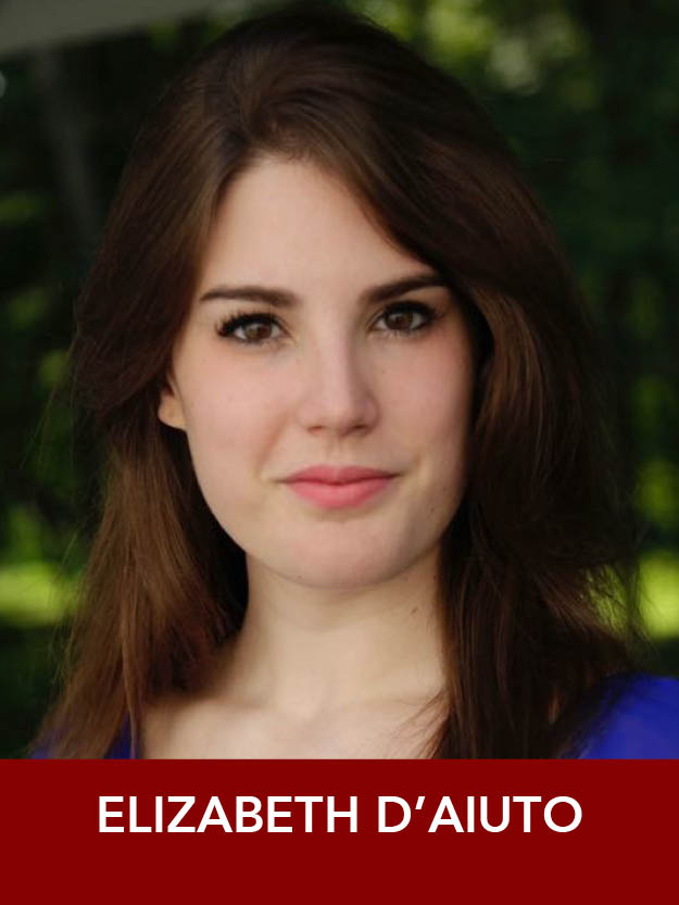 ELIZABETH D'AIUTO  ( Ensemble ) Upcoming:  The Music Man  (Reagle),  Damn Yankees , and Ruby in  Dames at Sea  (Priscilla Beach). Past: Mabel u/s in  The Pirates of Penzance  (Barrington Stage). Rising senior at The Boston Conservatory. Much love to my supporting family! elizabethdaiuto.com
