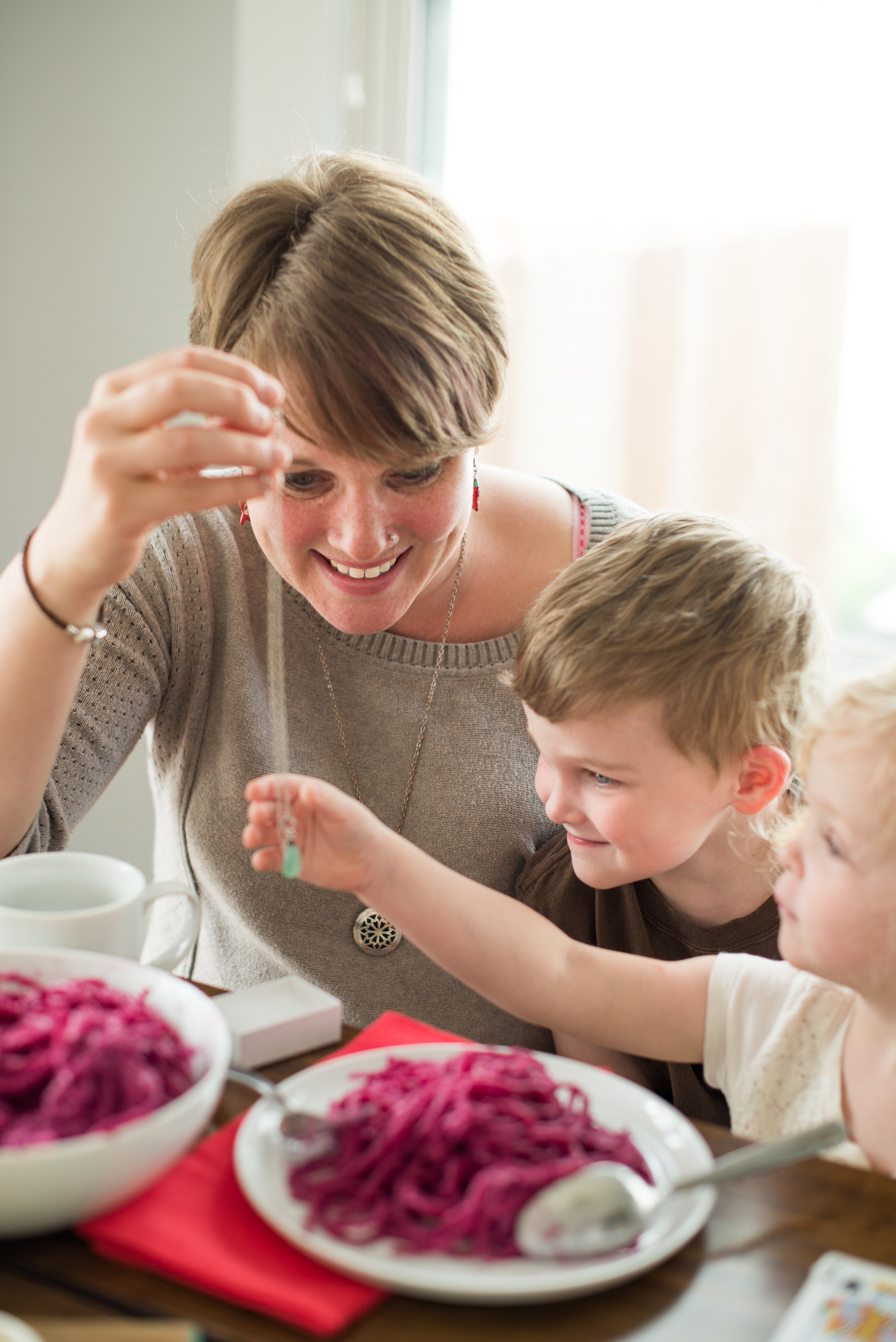 Mom Receiving Necklace Gift from Kids on Mother's Day