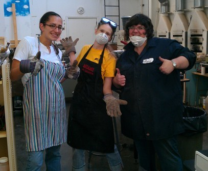 Me and my fellow Kent State TA's after a long day cleaning the studio.