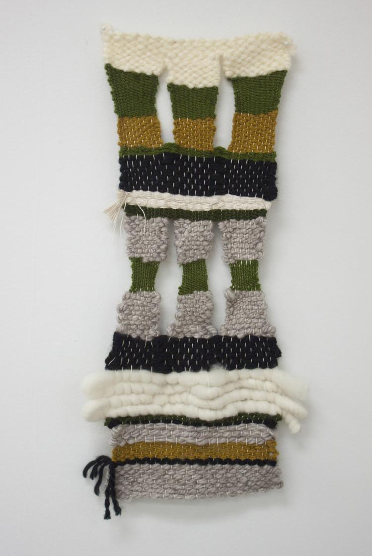 """Trinity , yarn, 14"""" x 8"""", 2015 (photo by artist)"""