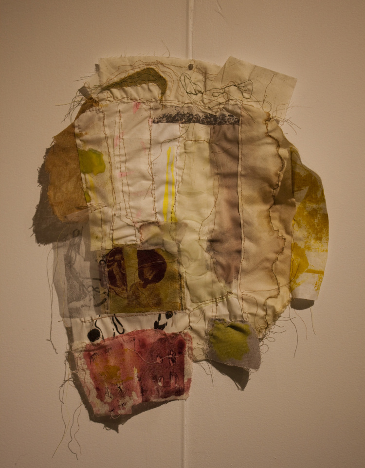"""Pieced , mono-printed fabric, scraps of found fabric, 10"""" x 8"""", 2015 (photo by artist)"""