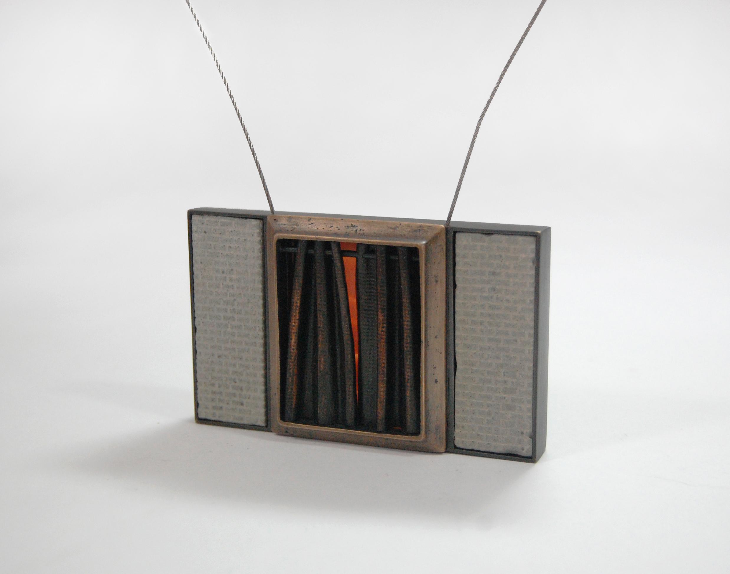 """Figure 10:  Cedarhurst,  cast bronze, nugold, copper, steel cable, concrete, silicone, 3 1/2"""" x 2 1/4"""" x 3/4"""""""
