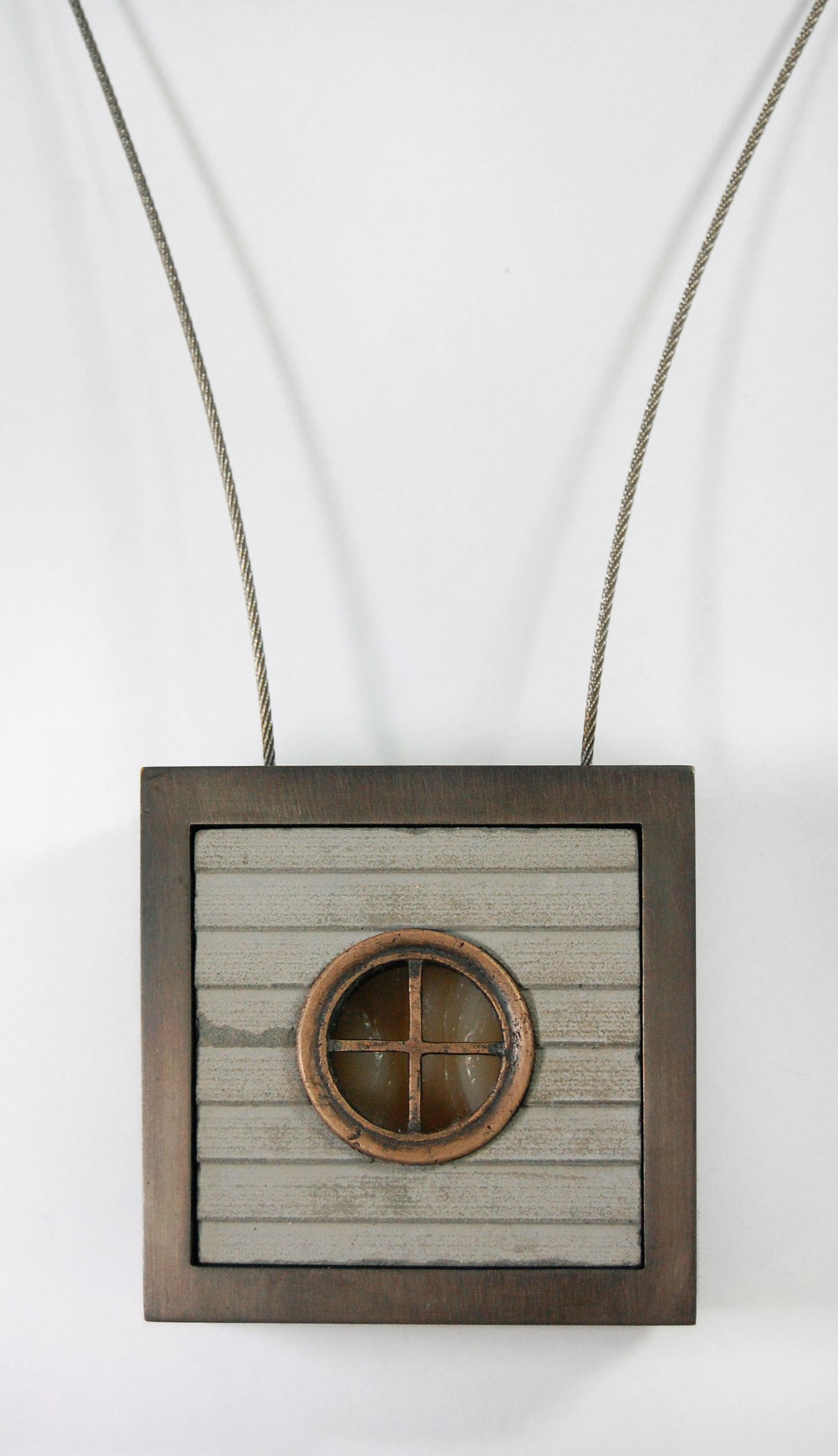 """Figure 12:  Foxstone,  cast bronze, nugold, steel cable, concrete, silicone, 2 15/16"""" x 2 15/16"""" x 1 1/8"""""""