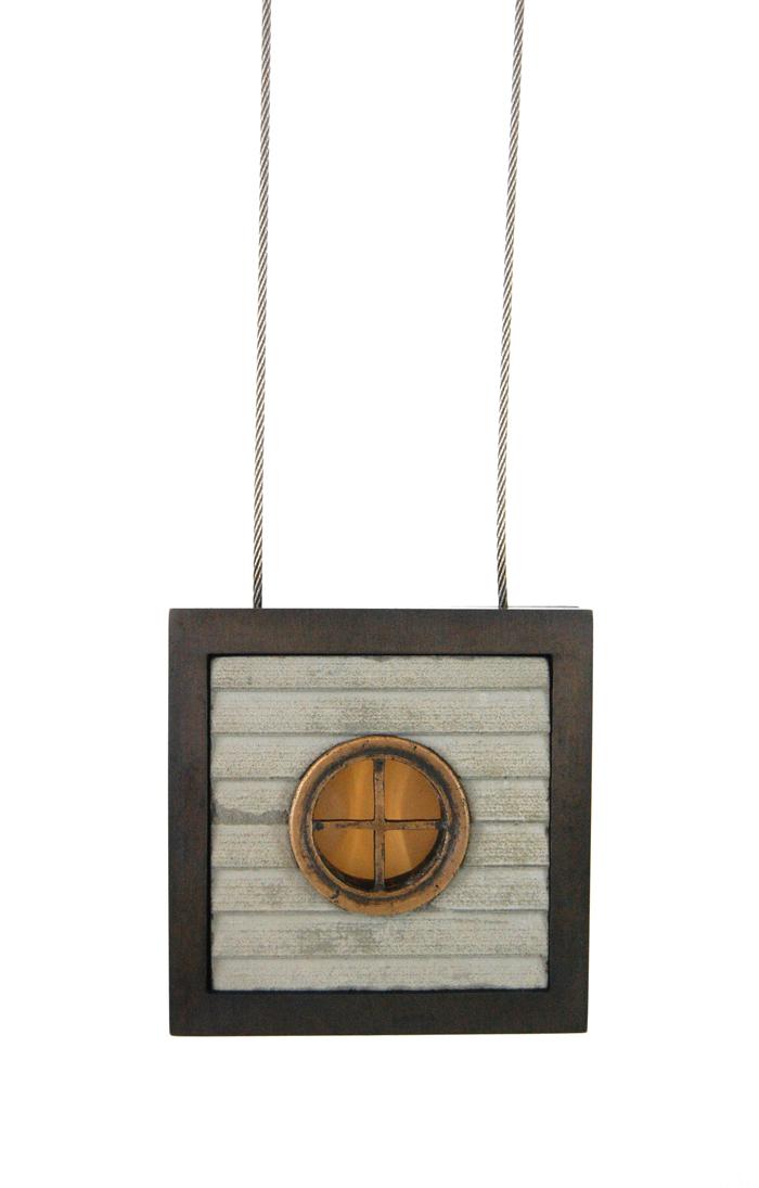 """Foxstone,  cast bronze, nugold, steel cable, concrete, silicone, 2⅞"""" x 2⅞"""" x 1⅛"""", 2014"""