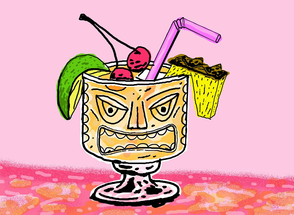 Alternative Facts  2 ounces light rum 1 ounce dark rum 2 ounces milk 2 tablespoons apple cider vinegar Dash of bitters Dash of salt Garnish with maraschino cherries, pineapple chunks, and lime  A Trump-inspired cocktail list wouldn't be complete without a drink designed for deception. Welcome to the alt-piña colada. While the  Alternative Facts  resembles the classic, refreshing tropical treat, it's actually quite bitter, salty, and tangy in flavor. Shake all ingredients over ice and serve in a tiki-inspired tumbler, conservatively topped with fruit. Recommended to serve any time you're forced to discuss a task you've made no progress on and need to divert attention.