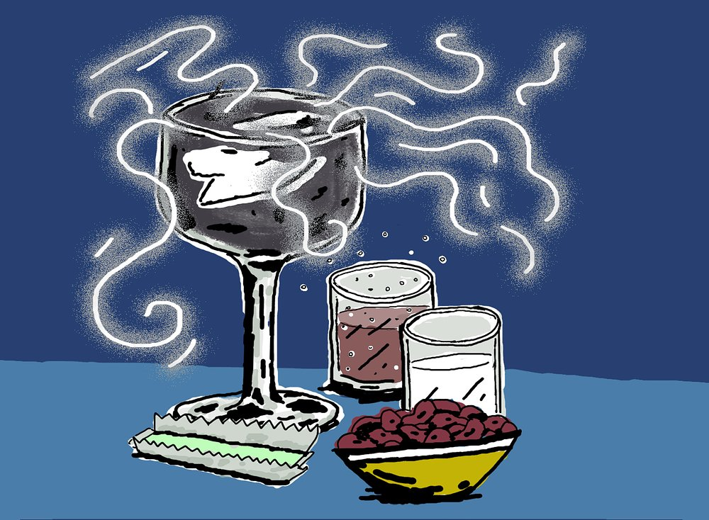 Global Warm-Up  2 ounces rum 1 ounce lemon juice ½ teaspoon activated charcoal 1 chunk dry ice Sugar, to taste  Pour all ingredients into a goblet over dry ice. Serve as black smoke begins to billow over the cup's edge. Enjoy with soda, beans, chewing gum, and milk.  Warning: Will likely cause excess gas .