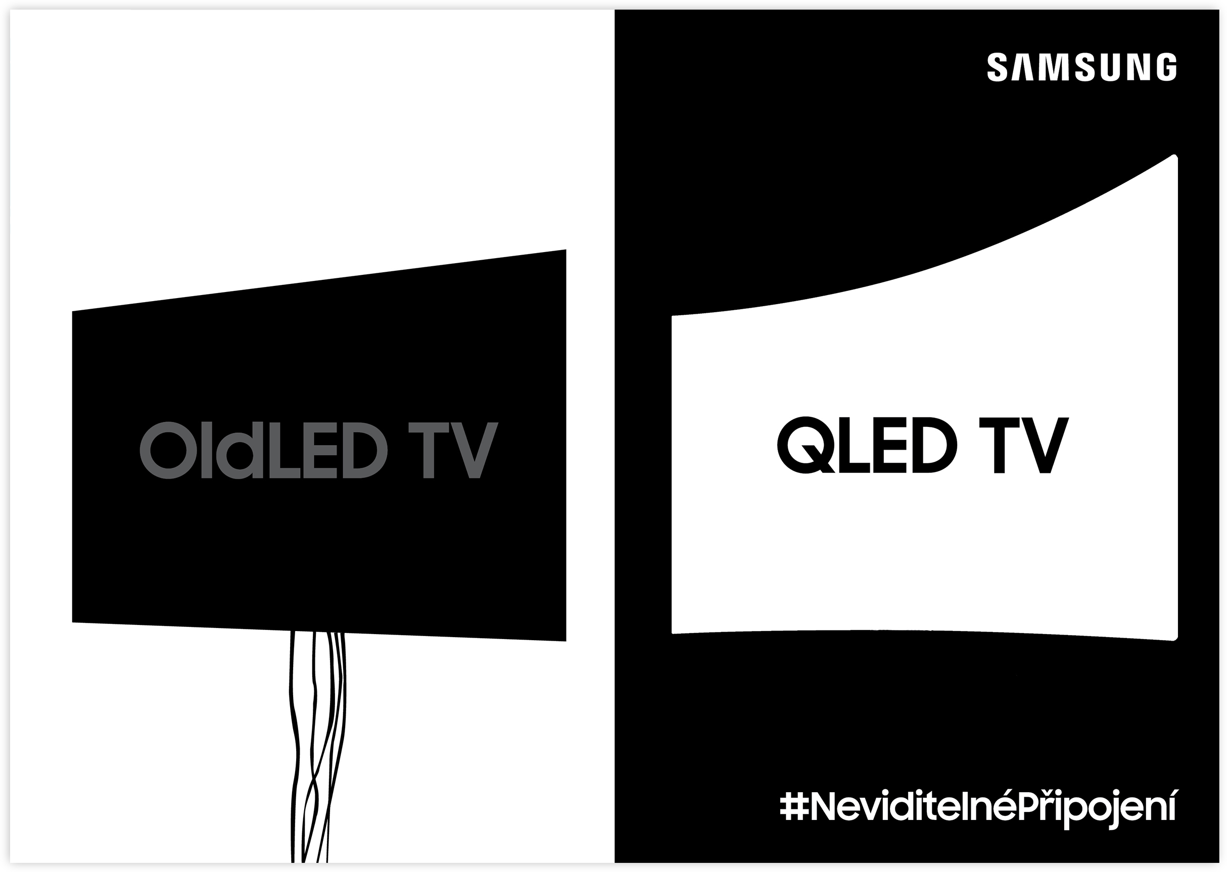 KV 1 | Highlighting the primitive wiring management system of an OldLED TV setup next to a refined solution from the QLED TV.