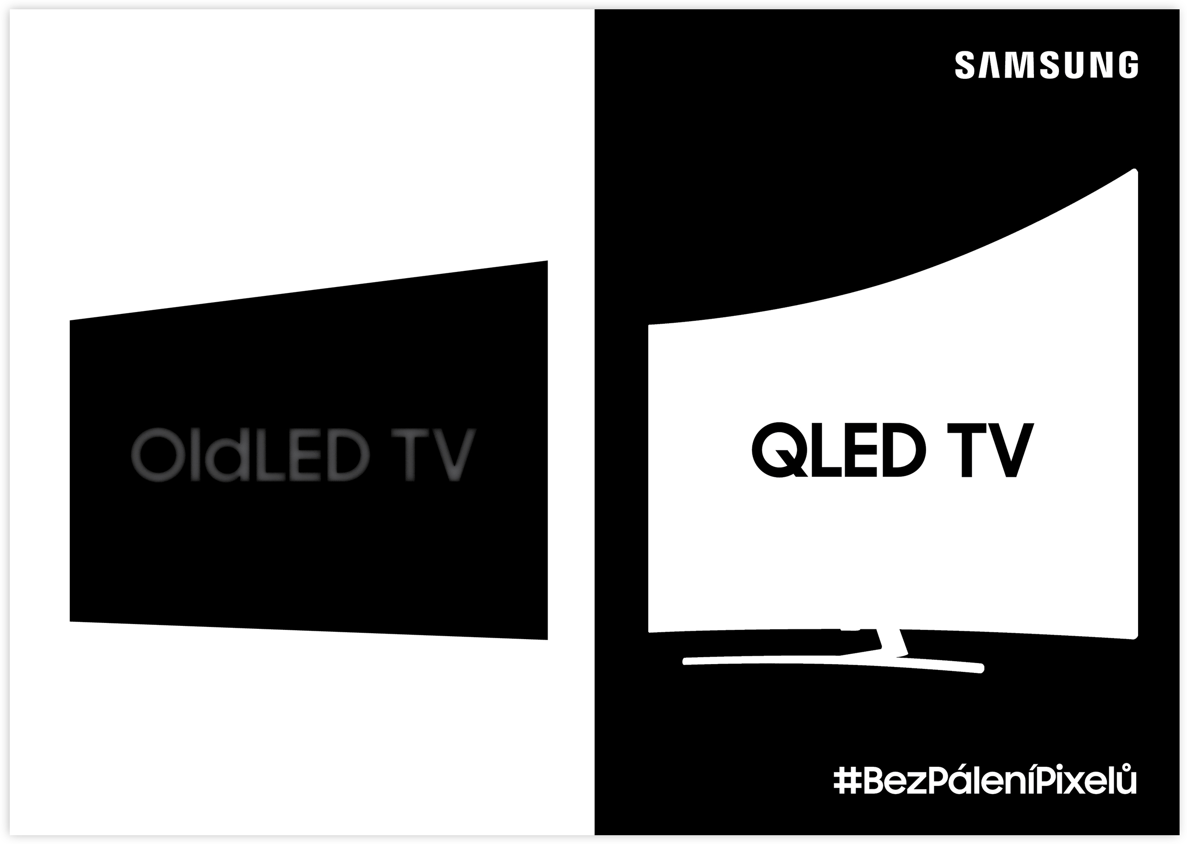 KV 3 | The TVs displaying their respective logos in the long term. An OldLED TV with its respective logo burnt into the screen, and a QLED TV displaying a crisp logo.