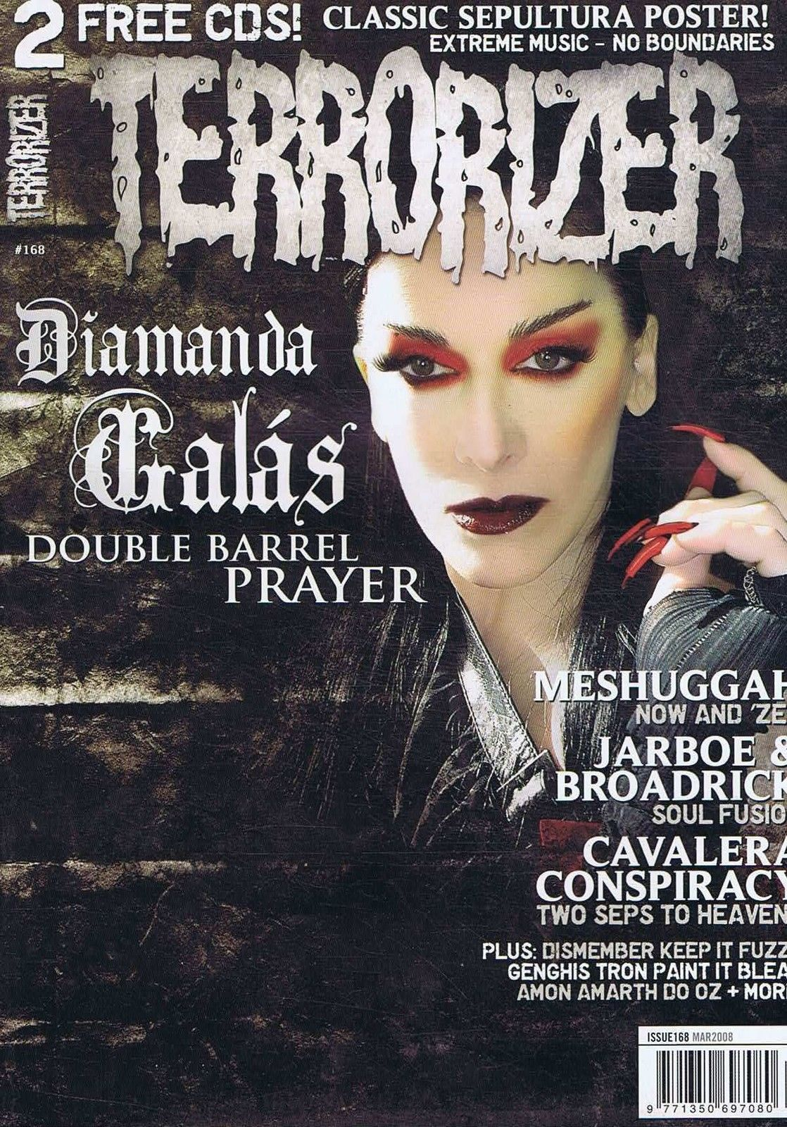 Augustine Featured - March 2008  - In Terrorizer Magazine Issue #168 in Fear Candy CD #52a March 2008 with our Song