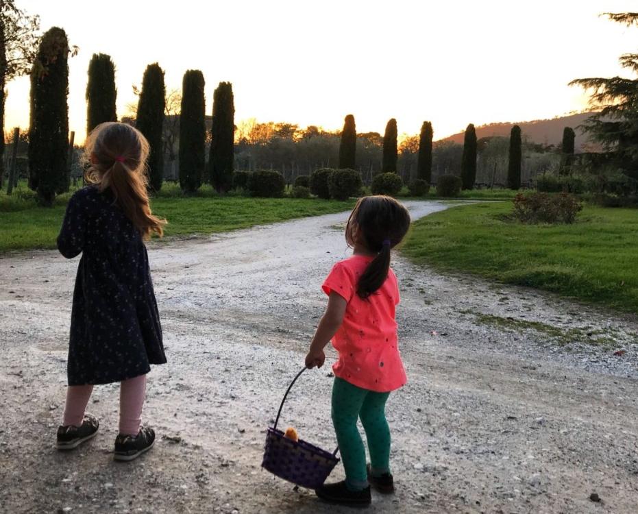 My girls enjoying a sunset at Fattoria San Vito in Calci