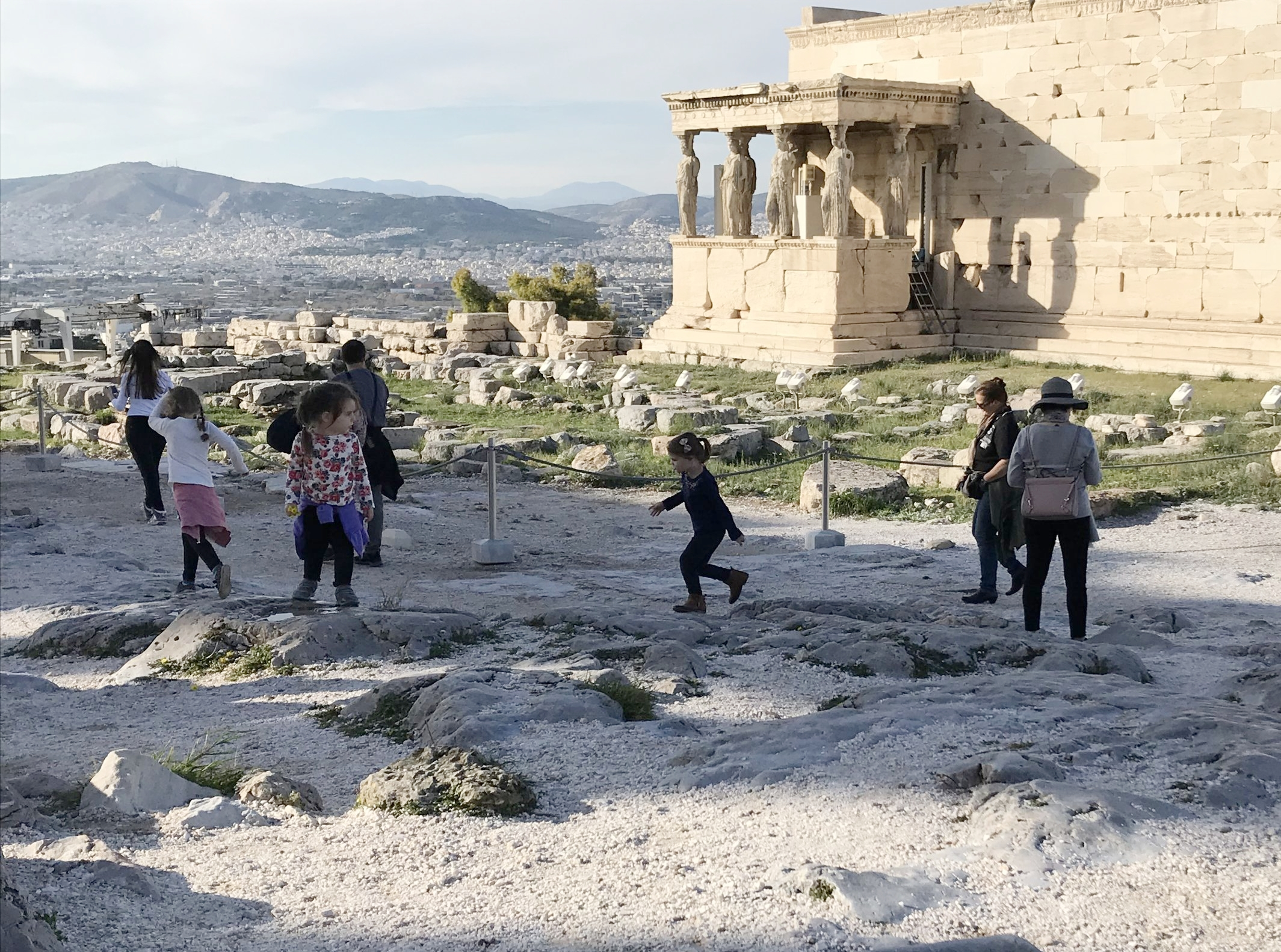 Our 4 little girls (3 pictured here) had tons of room to move around the Acropolis during the off-season in Athens