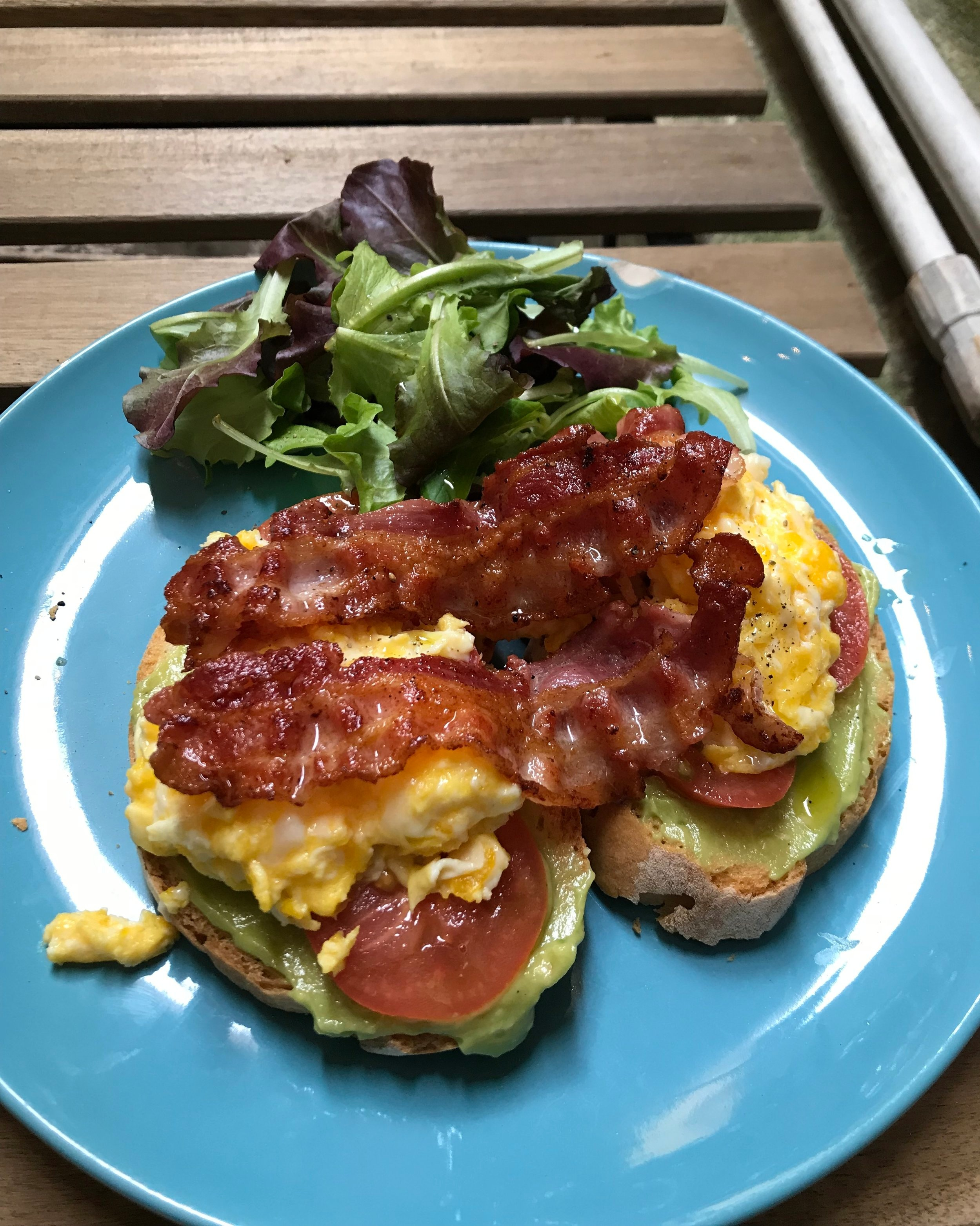 Bacon avocado and scrambled eggs on toast at Filter Coffee Lab