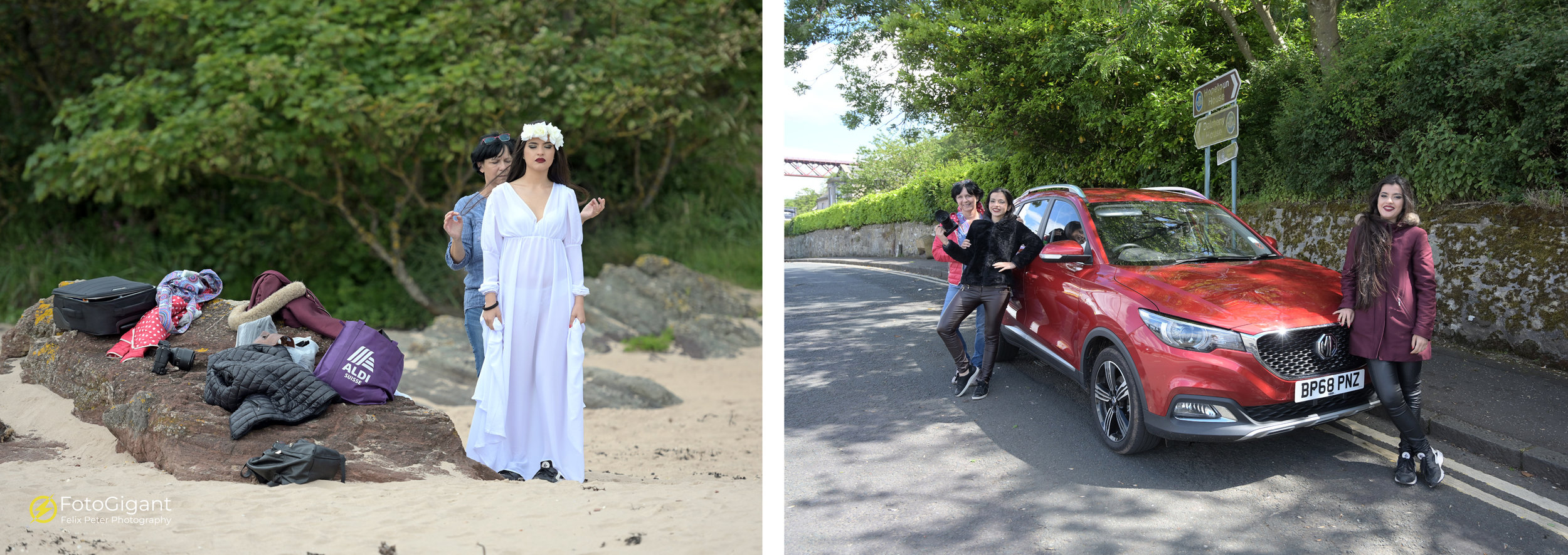 Behind the Scene at Beach Tantallon and later on driving to Forth Bridge with our MG :-)