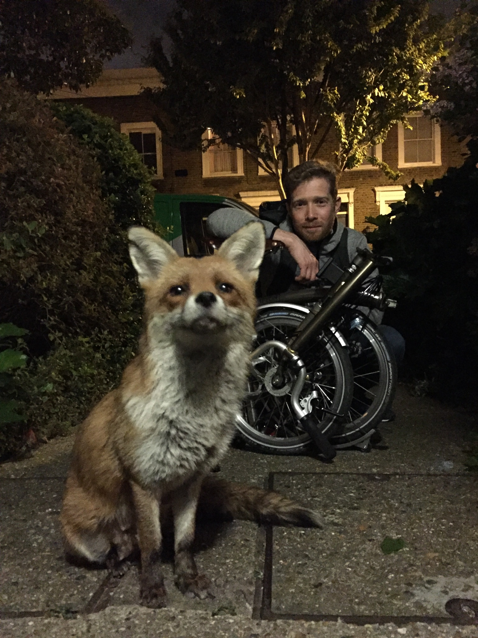 Gaspard, Zeb and his folding bicycle