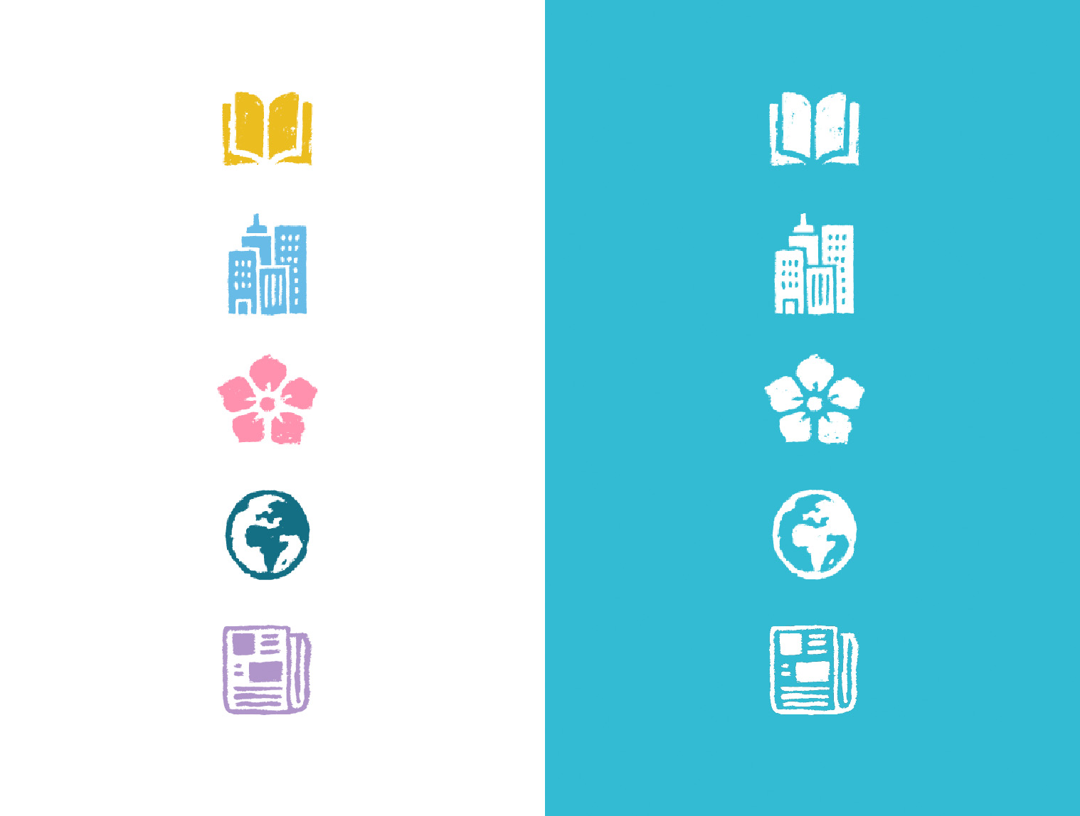 The main category icons for both white background as well as negative white versions to be used over blue background.