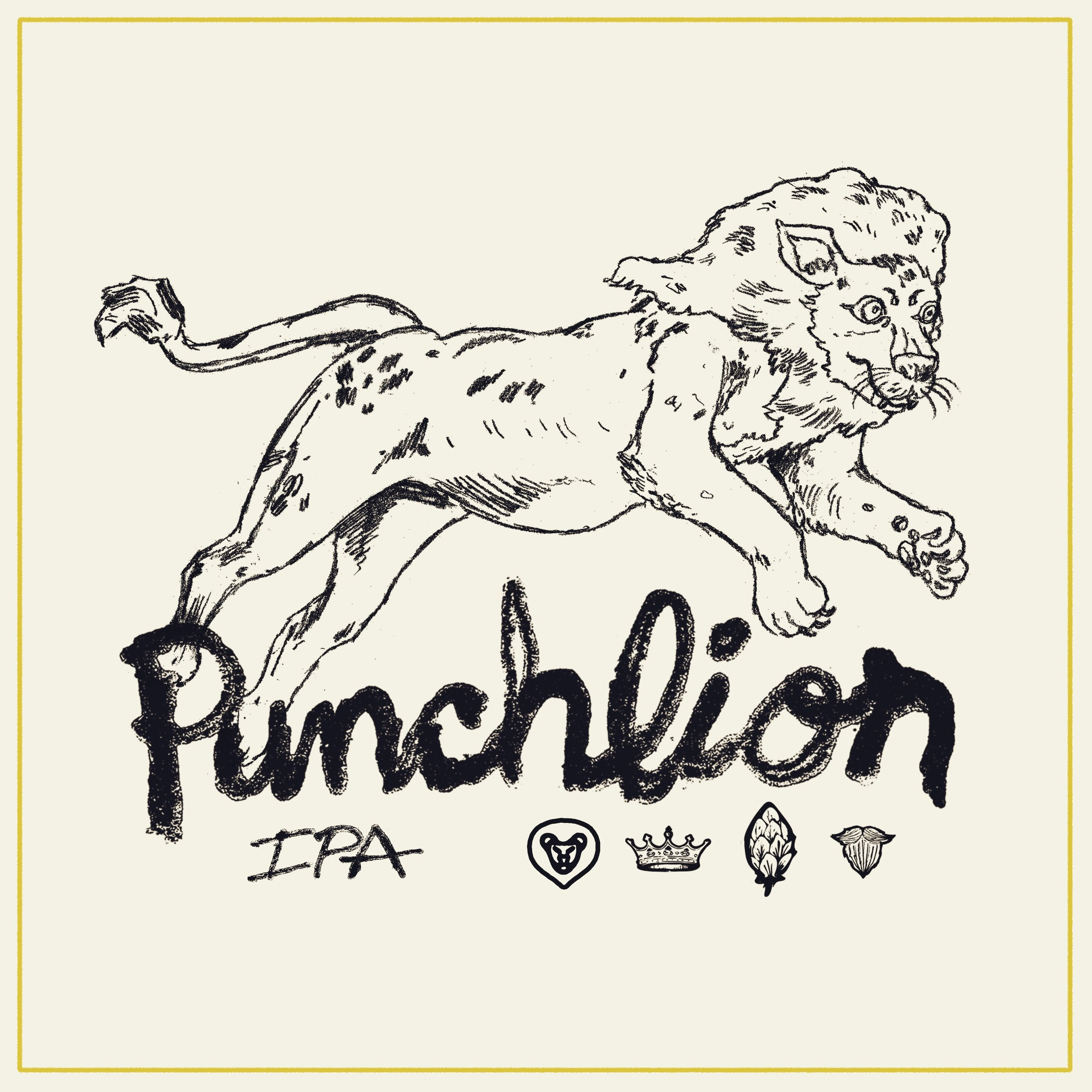 Punchlion IPA  is 7% abv and hopped aggressively with Citra, Simcoe, Amarillo, Mosaic, Ekuanot, Columbus, and Chinook hops.