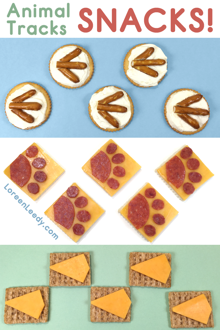 Pretzel sticks, pepperoni slices, and, cheddar cheese make penguin chick, puppy, and duckling tracks.