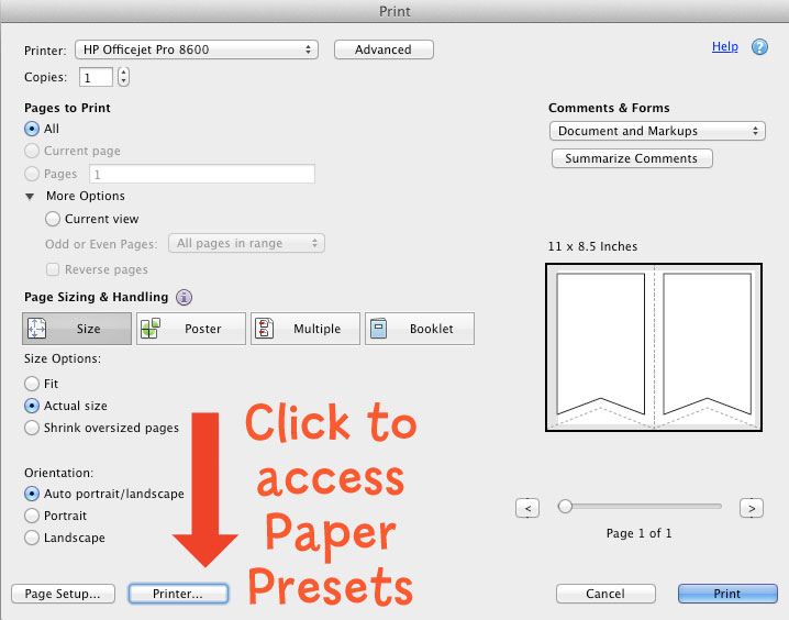 Use the built-in paper presets or create custom sizes and paper types such as glossy photo paper, cardstock, and so on.