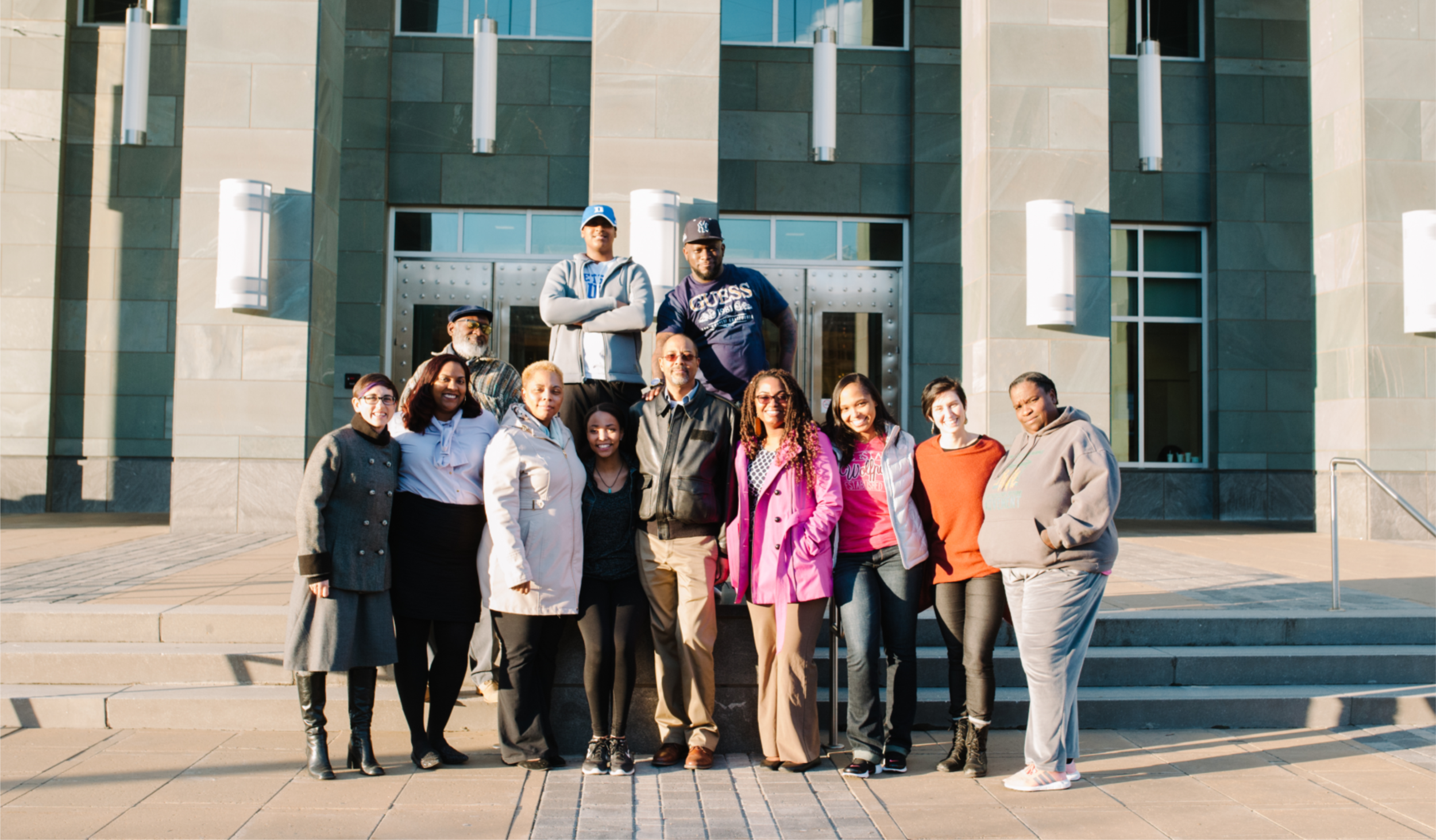 Dave Hall and team in front of Durham County Courthouse, Durham County Government, NC