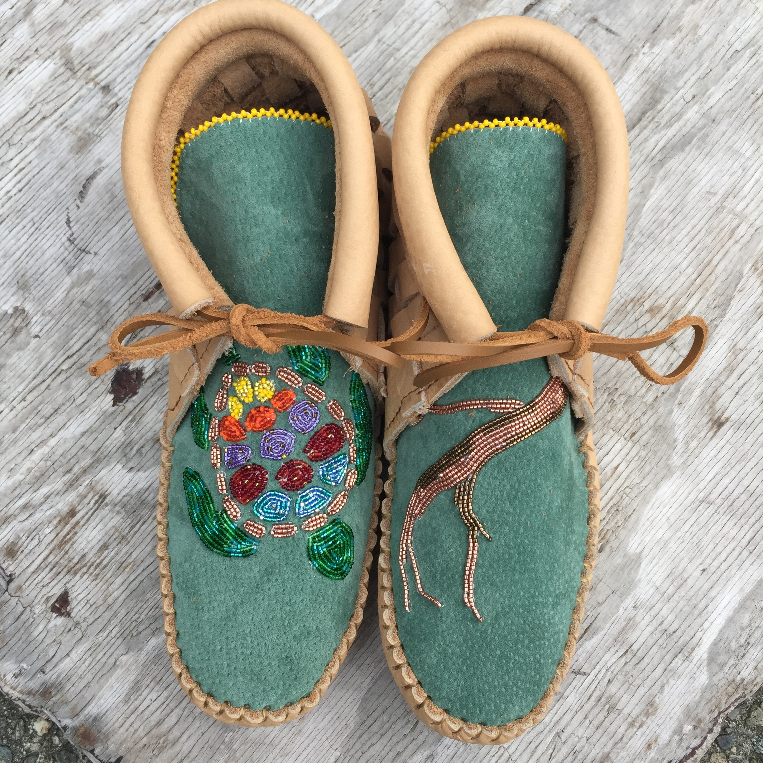 Sand Woven with Vibram Sole Beaded Turtle and Arbutus