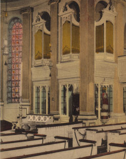 False Pipes - This old tinted postcard shows the false pipes that went with the 1936 Hammond electric organ.