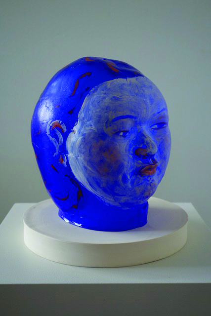 Akio Takamori (Japanese-American, 1950-2017).  Blue Woman,  2014. Mold-blown glass with oil paint; ceramic base; 10 1/2 × 8 1/2 × 9 1/2 in. Courtesy of James Harris Gallery.