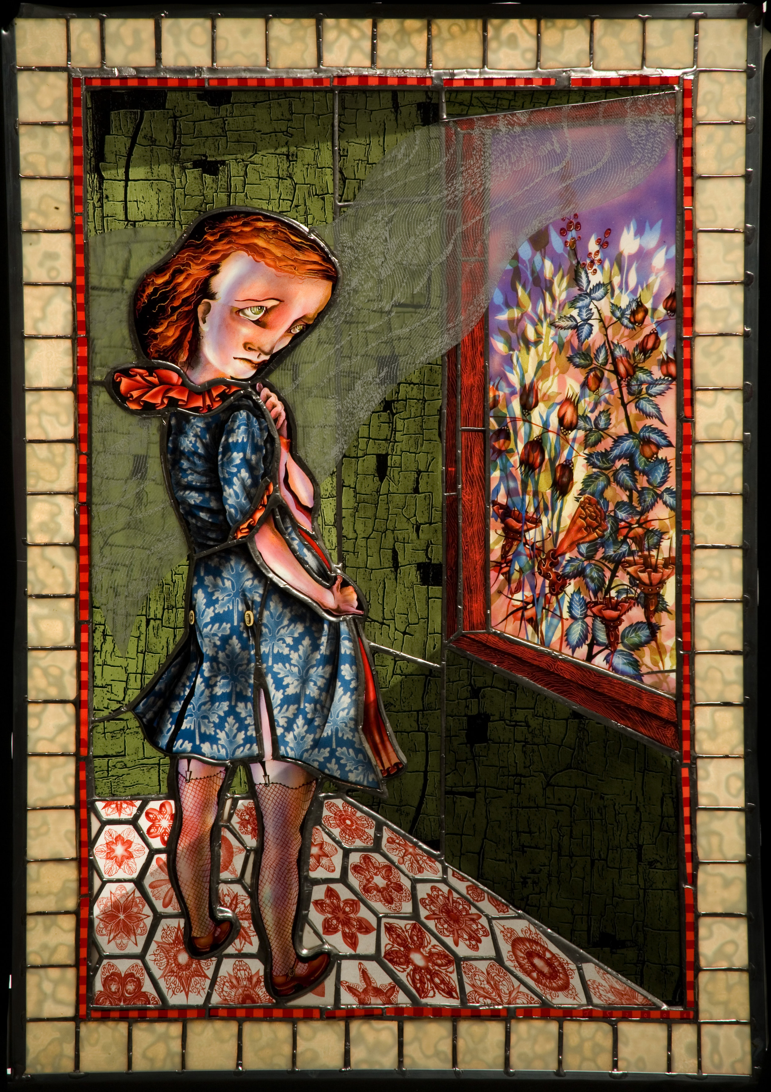 Judith Schaechter (American, born 1961). Flasher,  2006.Stained-glass lightbox;35 13/16 x 25 in. Collection of Museum of Glass, Tacoma, Washington, gift of Albert and Margarita Waxman. Photo by Dominic Episcopo, courtesy of the artist