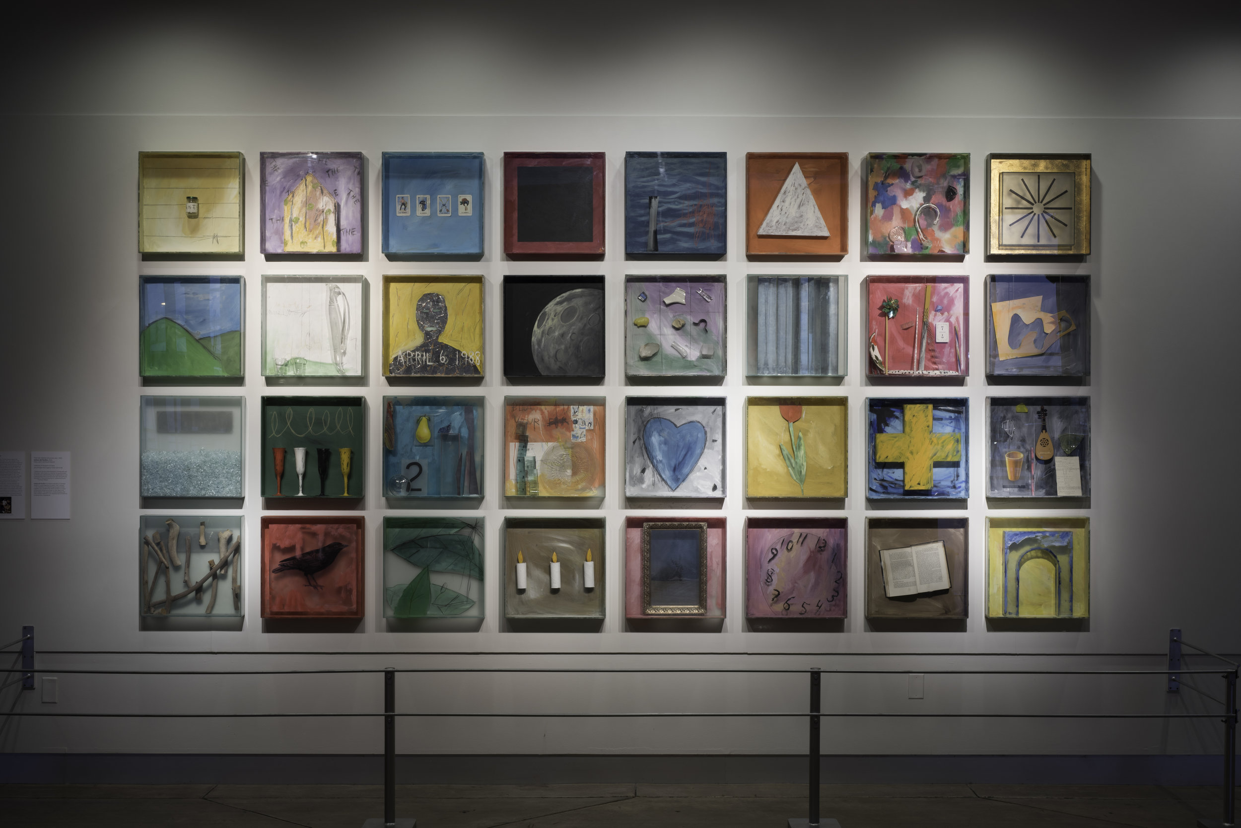 Therman Statom (American, born 1953). Indices del Pacifico,  2000.Glass, paint, and found objects;32 boxes, each: 18 x 18 x 3 1/2 in.Collection of Museum of Glass, Tacoma, Washington, gift of Ralph and Eugenia Potkin.Photo by Duncan Price.