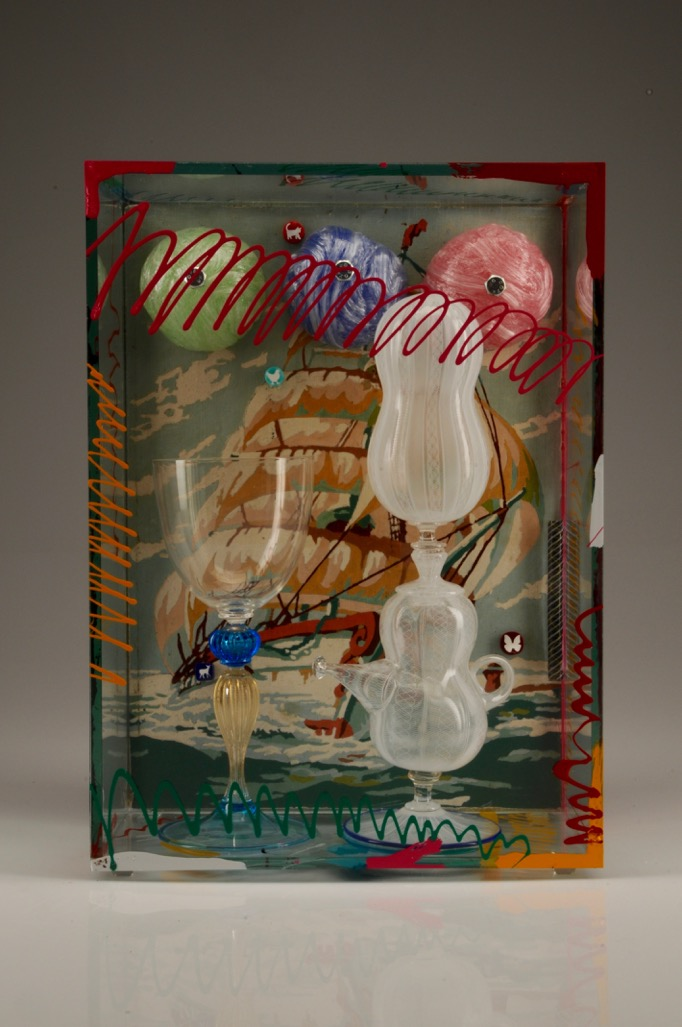 Richard Marquis (American, born 1945).Untitled, 2016.Blown glass; zanfirico technique, murrine, found object, sheet glass, and paint;14 1/4 × 10 1/4 × 5 1/8 in.Collection of Museum of Glass, Tacoma, Washington, gift of the artist.