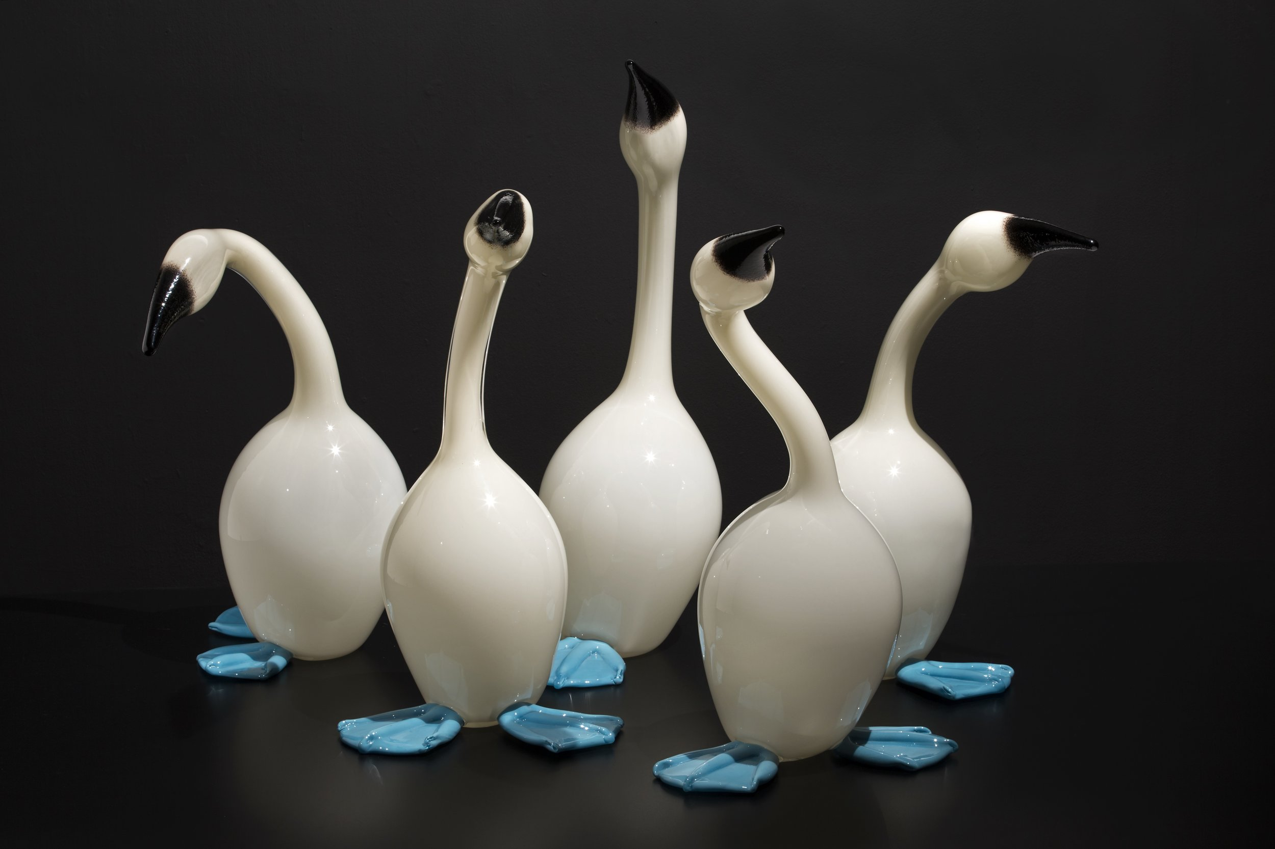 Erich Woll (American, born 1970). Mistakes Will Be Made (Blue-Footed Boobies) , 2014.Hot-sculpted glass.Collection of Museum of Glass, Tacoma, Washington, Gift of the artist. Photo courtesy of the artist.