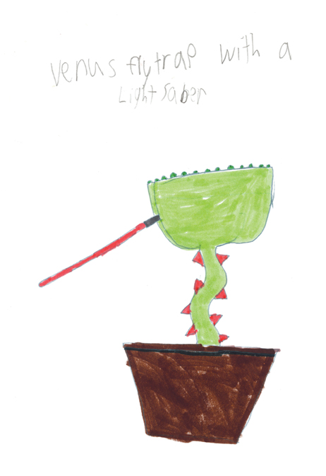 Benjamin Gruenbaum (age 9). Venus Flytrap with a light saber,  2008.Ink on paper; 11 x 8 1/2.Collection of Museum of Glass, Tacoma, Washington.   Venus Flytrap with a light saber  artist's statement:  This design has come out of lots other designs (the jedi family).Most of the other designs were lovable cartoon characters with light sabers.This design was one out of at least 12 others.