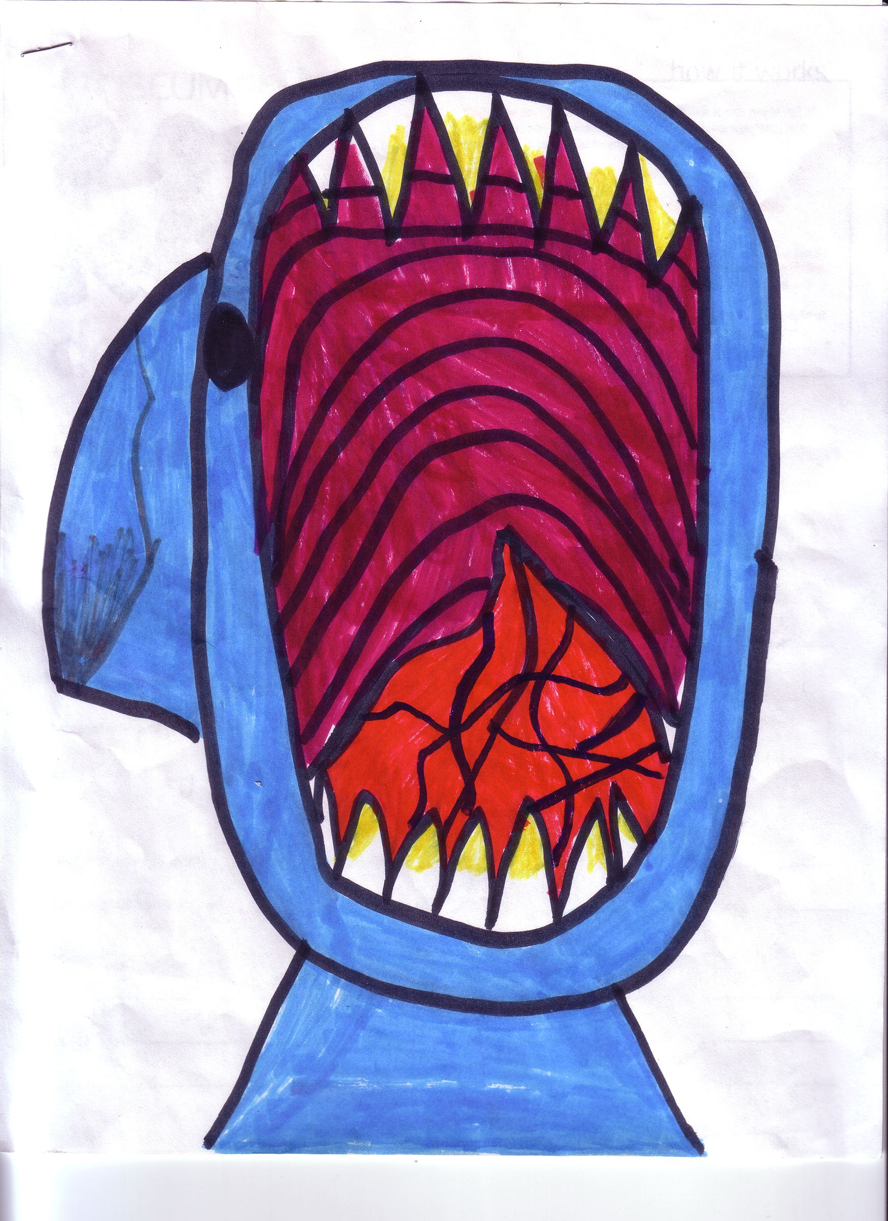 Erica Hankins (age 8). Shark Attack!,  2007.Ink on paper;11 x 8 1/2 in.Collection of Museum of Glass, Tacoma, Washington.   Shark Attack!  artist's statement:  It's scary!