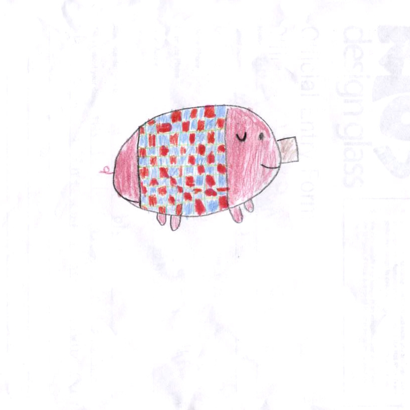 Forrest Brennan (age 10). Pig in a blanket,  2010.Pencil on paper;8 1/2 x 11 in.Collection of Museum of Glass, Tacoma, Washington.   Pig in a blanket  artist's statement:  This little Pigy is in his blanket because he doesn't want to get the swine flu