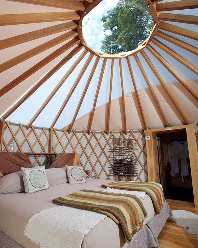 """We're putting together our travel destinations for 2019 and on our list is Patagonia Camp, an """"eco-first"""" destination in a private reserve. Guests stay in one of 20 luxury yurts, each decorated in a regional style and offering a glamping experience unique in the area, including a spa-like decorated en-suite and a private balcony overlooking the horns of the Torres del Paine massif and Toro Lake. Click on over to the site for more info #lifecuratedmag #travelguide"""